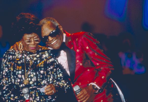 Legendary performers Ray Charles and Ella Fitzgerald at the 100th anniversary of the Moulin Rouge in Paris in 1989.