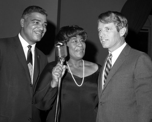 Ella Fitzgerald and Sen. Robert Kennedy in an undated photo taken at an event hosted in benefit of the Community Service