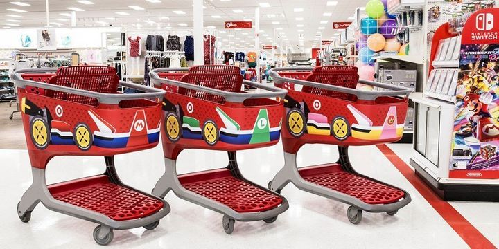 "In honor of the April 28th launch of&nbsp;<a href=""http://www.target.com/p/mario-kart-153-8-deluxe-nintendo-switch/-/A-52161278"" target=""_blank"">Mario Kart 8 for Nintendo Switch</a>, Target has unveiled themed shopping carts."
