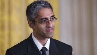 US Surgeon General Vivek Murthy delivers remarks at a Clean Power Plan event at the White House in Washington, DC, August 3, 2015. President Barack Obama described climate change as one of the key challenges of our time Monday as he announced the first ever limits on US power plant emissions. As a step to try to adapt, Obama announced power plant owners must cut carbon dioxide emissions by 32 percent from 2005 levels by 2030.       AFP PHOTO/JIM WATSON        (Photo credit should read JIM WATSON/AFP/Getty Images)