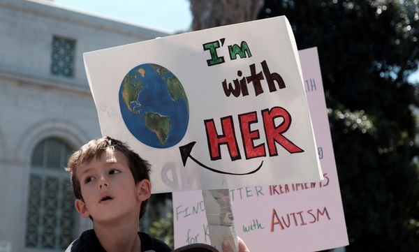 A young boy marches with scientists and supporters in a March for Science on April 22, 2017 in Los Angeles, California. &nbsp