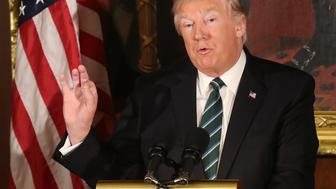 "US President Donald Trump speaking at a ""Friends of Ireland"" lunch at the Capitol Building in Washington, USA."