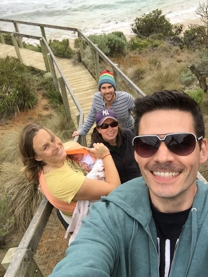 Nathan snaps a family selfie as they all head to the beach