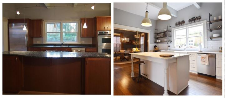 Kitchen renovation in one of Josh and Joey's projects, before and after