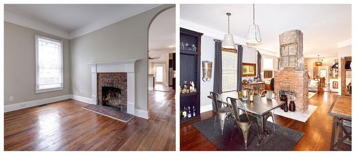 Living and dining room renovation in one of Josh and Joey's projects, before and after