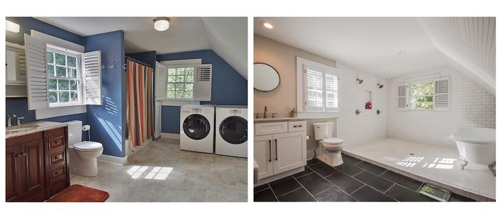 Bathroom renovation in one of Josh and Joey's projects, before and after