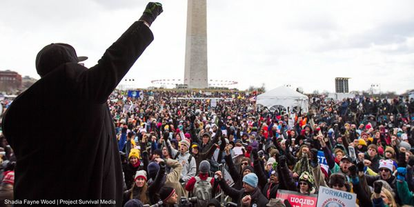 Rev. Yearwood speaks to a crowd of climate activists in Washington, D.C.