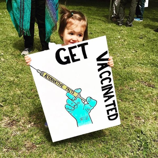 Ruby, 17 months, marched in Washington state.
