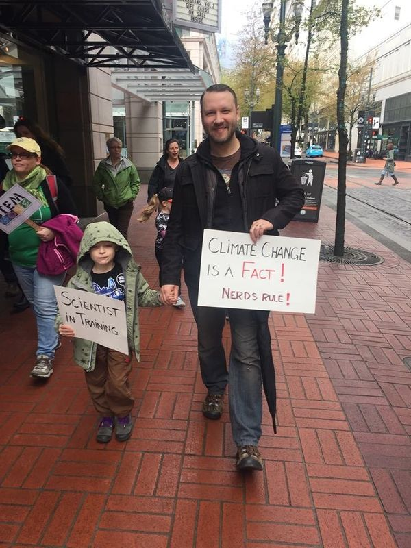 Alex and 6-year-old Max marched in Portland, OR.