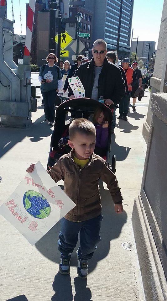 Jett, 3 years old, marched in Milwaukee.