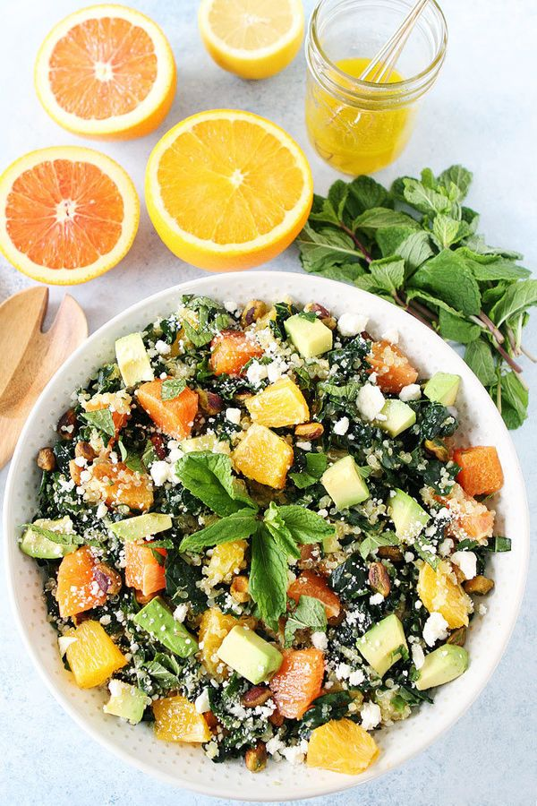 "<strong>Get the <a href=""http://www.twopeasandtheirpod.com/orange-avocado-and-kale-quinoa-salad/"" target=""_blank"">Orange, Avo"
