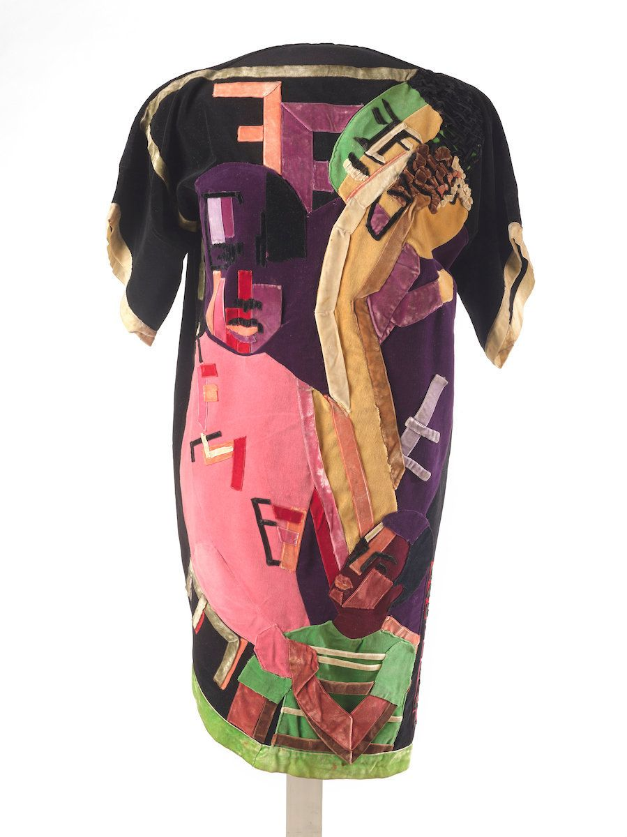 "Jae Jarrell (American, born 1935), ""Ebony Family,"" circa 1968, velvet dress with velvet collage."