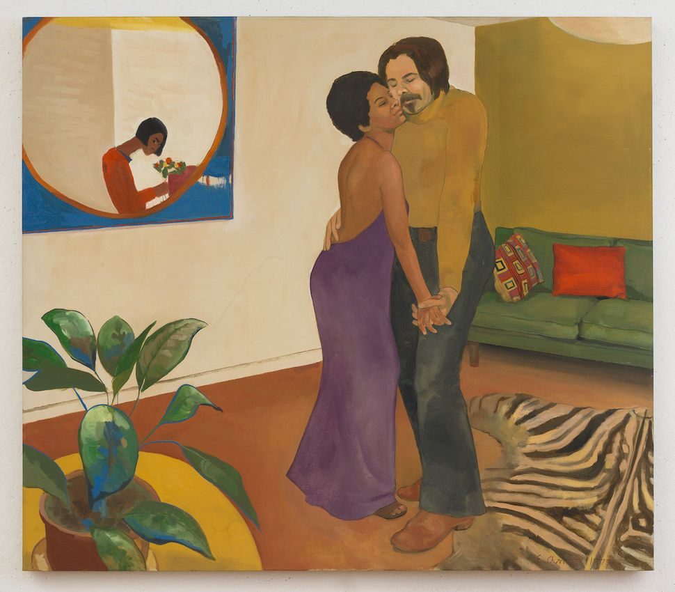 "Emma Amos (America, born 1938), ""Sandy and Her Husband,"" 1973, oil on canvas, 44.25 x 50.25 inches."