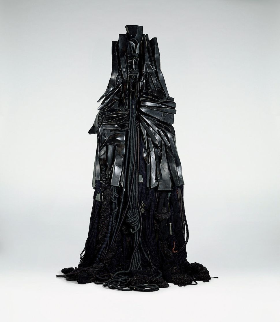 "Barbara Chase-Riboud (American, born 1939), ""Confessions for Myself,"" 1972, black patinated bronze with wool, 120 x 40 x &nbs"