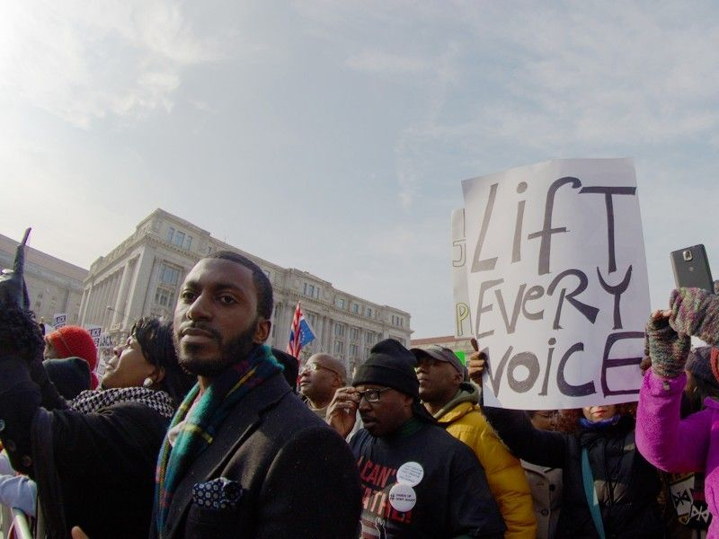 <strong>Black community members speak out against racism at the 2014</strong> <em>Justice for All</em> <strong>march in Wash