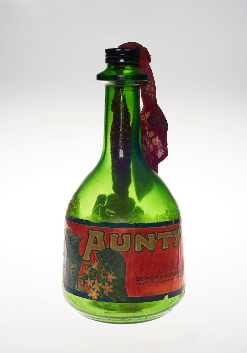 "Betye Saar (American, born 1926), ""Liberation of Aunt Jemima: Cocktail,"" 1973, mixed-media assemblage, 12 x 18 inches."