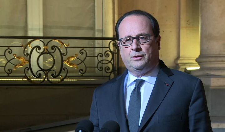 French President Francois Hollande speaking during a statment at the Elysee Palace in Paris after a shooting on the Champs El