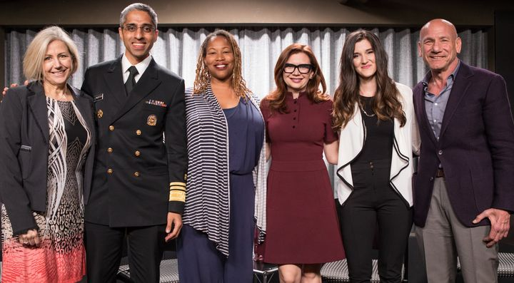 <p>From left: Kate Folb, director of Hollywood, Health & Society; surgeon general Vivek Murthy; <em>Grey's Anatomy</em> executive producer Zoanne Clack; <em>Mom</em> writer/producer Gemma Baker; addiction recovery educator Cortney Lovell; Marty Kaplan</p>