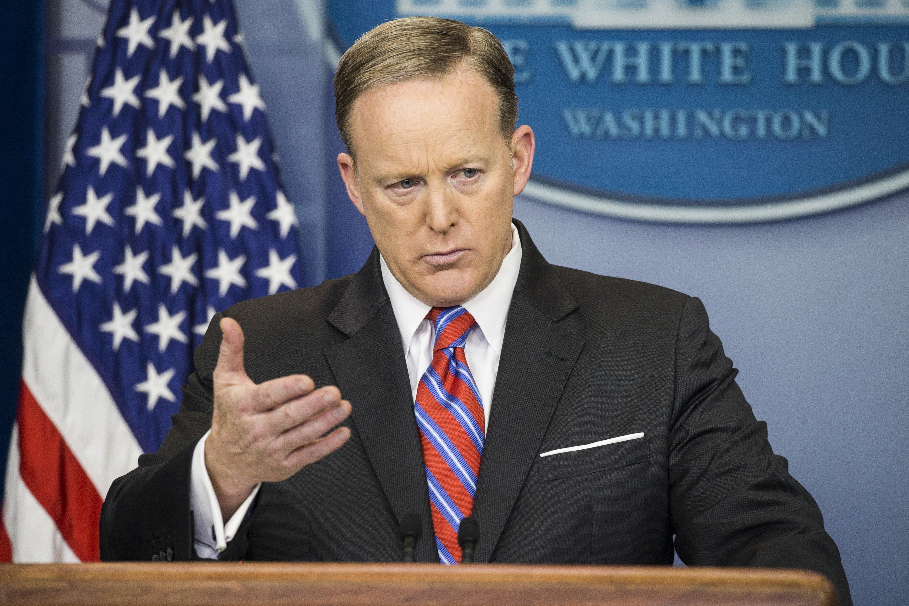 WASHINGTON, USA - MARCH 28: White Press Secretary Sean Spicer speaks during the daily press briefing at the White House in Washington, USA on March 28, 2017. (Photo by Samuel Corum/Anadolu Agency/Getty Images)