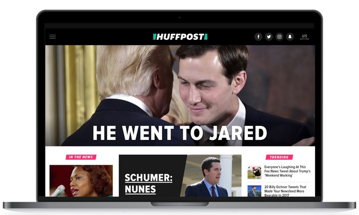 HuffPost's redesigned front page.