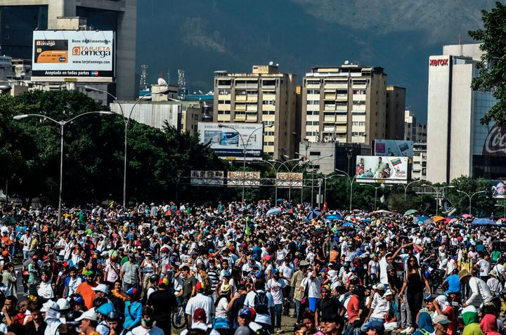 Venezuelan opposition activists demonstrate against President Nicolas Maduro in Caracas, on April 24, 2017.