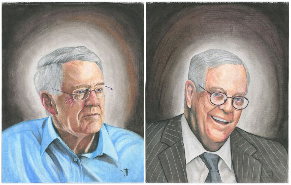 Artist Joseph Acker (Prison ID #15967538) drew CEO and VP of Koch Industries, Charles and David Koch, respectively. The