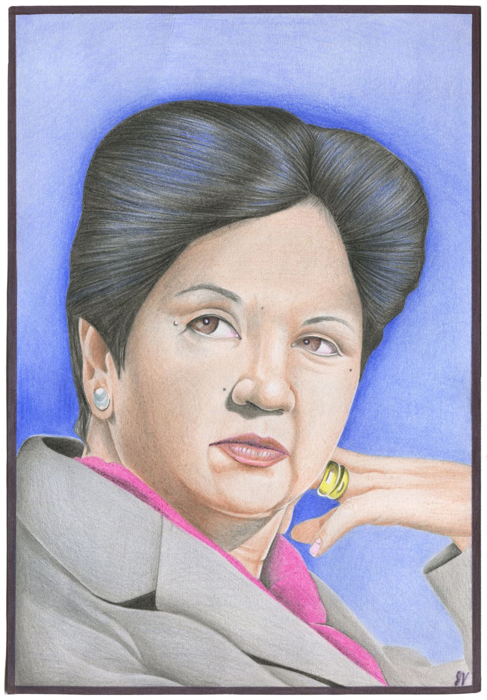 John Vercusky (Prison ID #55341-0) drew CEO of Pepsico Indra Nooyi. Nooyi is accused of accessory to murder, conspiracy