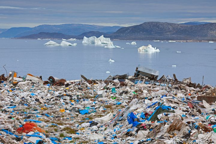 Trash builds up on the coast of Illulissat, a town in Greenland.