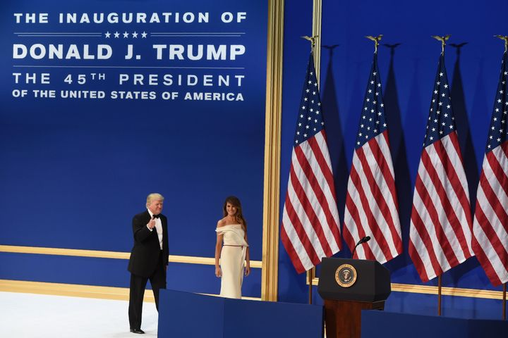 President Donald Trump and first lady Melania Trump during the Salute to Our Armed Services Inaugural Ball at the National Bu