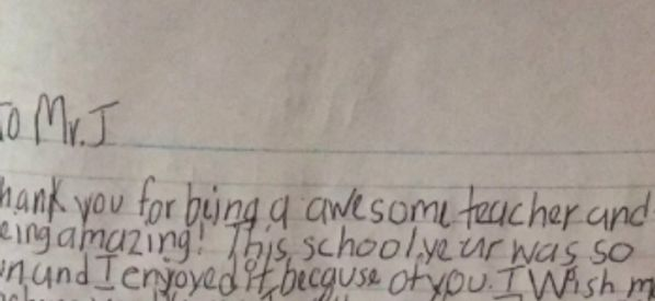 'I Look At You Like My Dad': Teacher Moved To Tears By Heartfelt Letter From Pupil