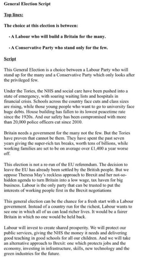 Revealed: Labour's General Election 2017 Doorstep Message; Tories Are Party Of 'The Privileged