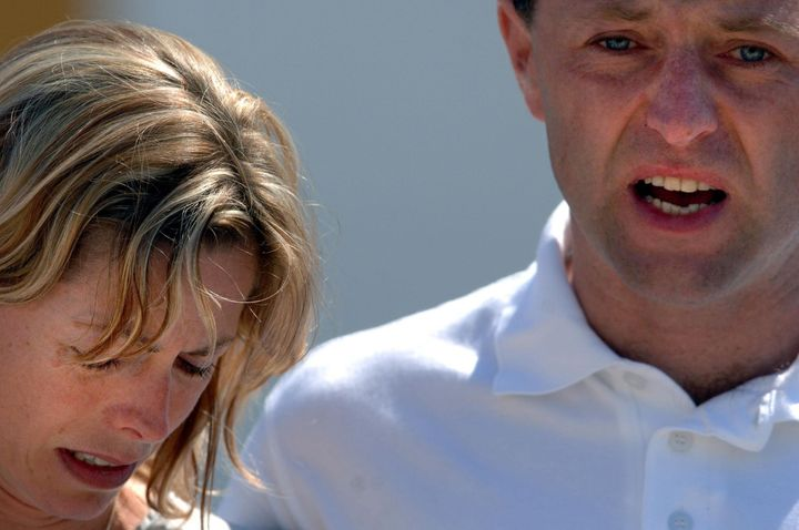 Kate and Gerry McCann pictured in the days after their daughter went missing