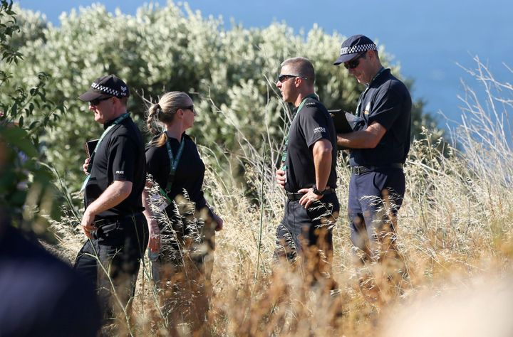 2014: British police checking an area of scrubland close to where Madeleine went missing from in Praia da Luz