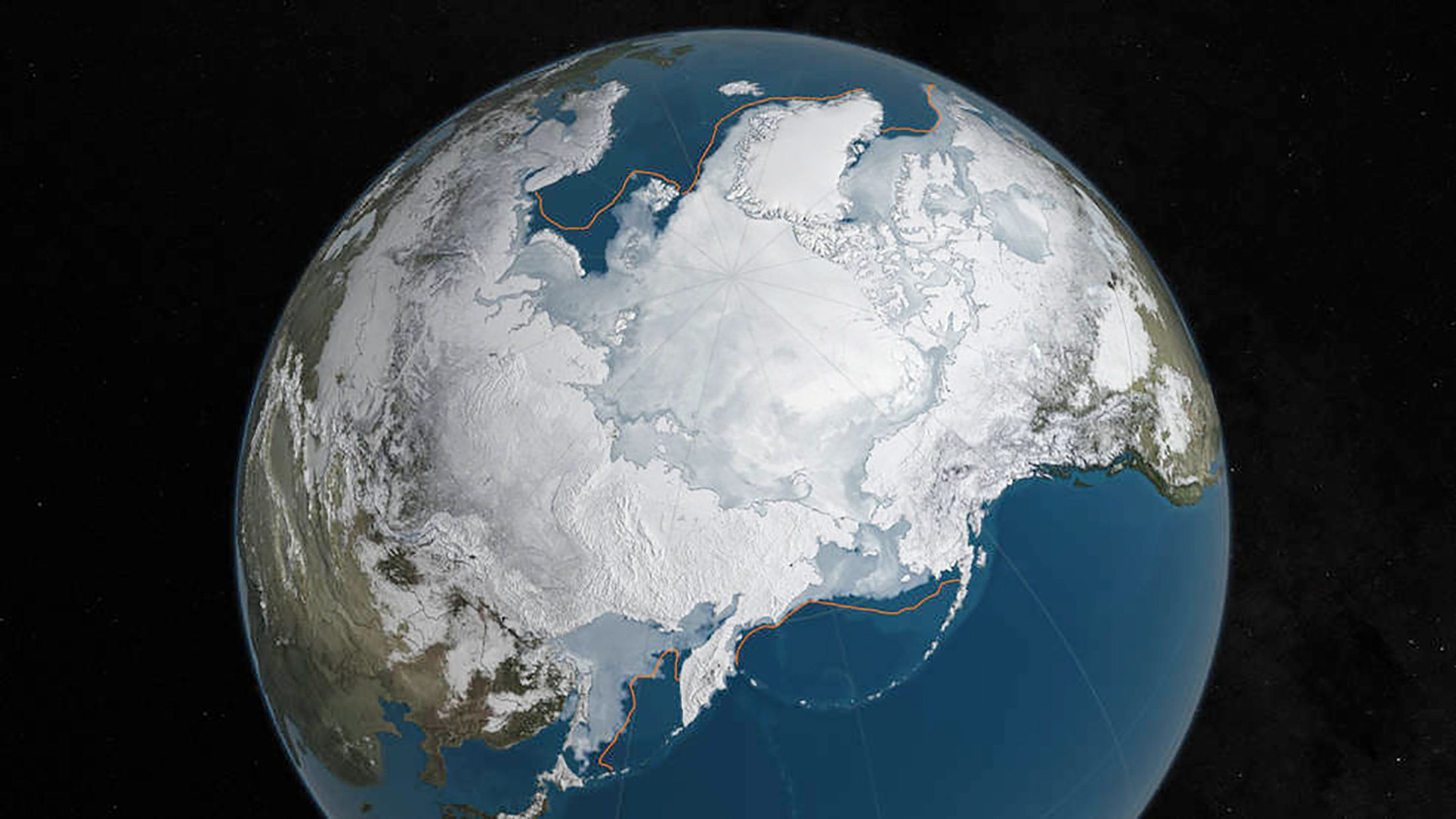 An undated NASA illustration shows Arctic sea ice at a record low wintertime maximum extent for the second straight year, according to scientists at the NASA-supported National Snow and Ice Data Center (NSIDC) and NASA.  At 5.607 million square miles (14.52 million square kilometers), the Arctic sea ice is the lowest maximum extent in the satellite record, and 431,000 square miles (1,116,284 square kilometers) below the 1981 to 2010 average maximum extent,  according to NASA.  REUTERS/NASA Goddard's Scientific Visualization Studio/C. Starr/Handout via Reuters  THIS IMAGE HAS BEEN SUPPLIED BY A THIRD PARTY. IT IS DISTRIBUTED, EXACTLY AS RECEIVED BY REUTERS, AS A SERVICE TO CLIENTS. FOR EDITORIAL USE ONLY. NOT FOR SALE FOR MARKETING OR ADVERTISING CAMPAIGNS