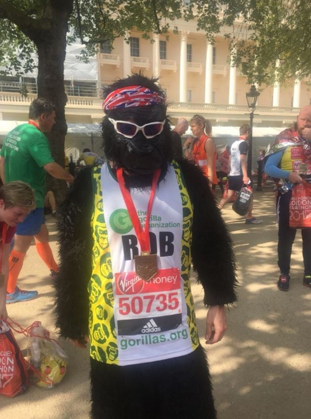 Rob the Gorilla has already completed the 26.2 mile