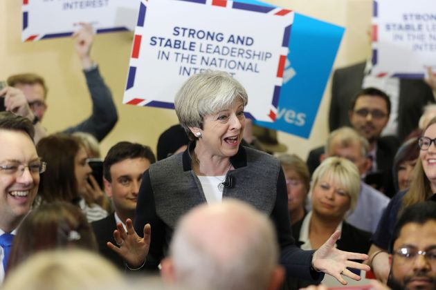 Theresa May delivers a stump speech on the campaign