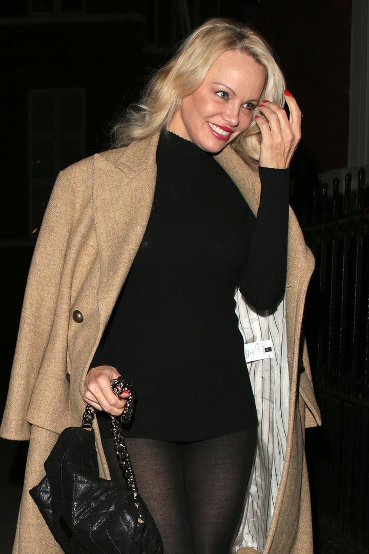 Pamela Anderson seen arriving at the Ecuadorian Embassy to visit Julian Assange on March 9 in London, England.