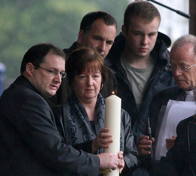 Melanie Jones lights a candle for her murdered son Rhys in