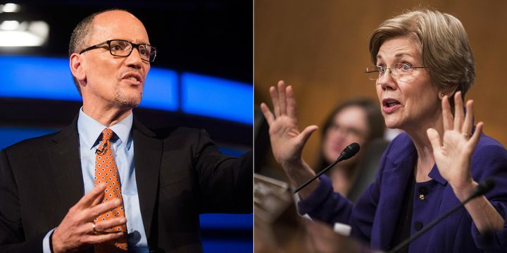 Democratic National Committee Chairman Tom Perez, left, now says Democrats who break with the party on abortion rig