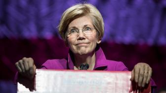 BOSTON, MA - MARCH 31: Senator Elizabeth Warren (D-MA) speaks at the Our Revolution Massachusetts Rally at the Orpheum Theatre on March 31, 2017 in Boston, Massachusetts. (Photo by Scott Eisen/Getty Images)