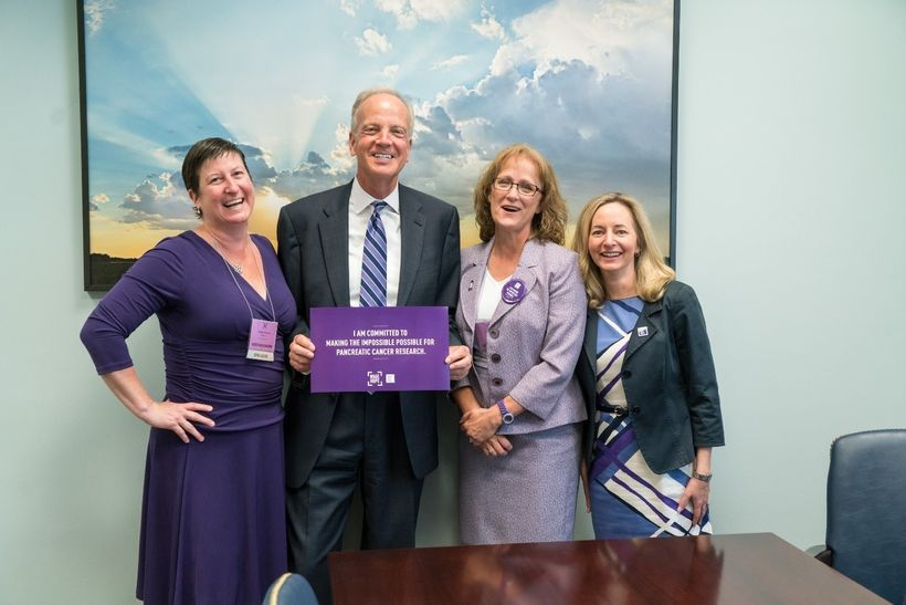 Advocates Heather and Charlotte Garrett, and Senator Jerry Moran of Kansas with PanCAN president and CEO Julie Fleshman at Na