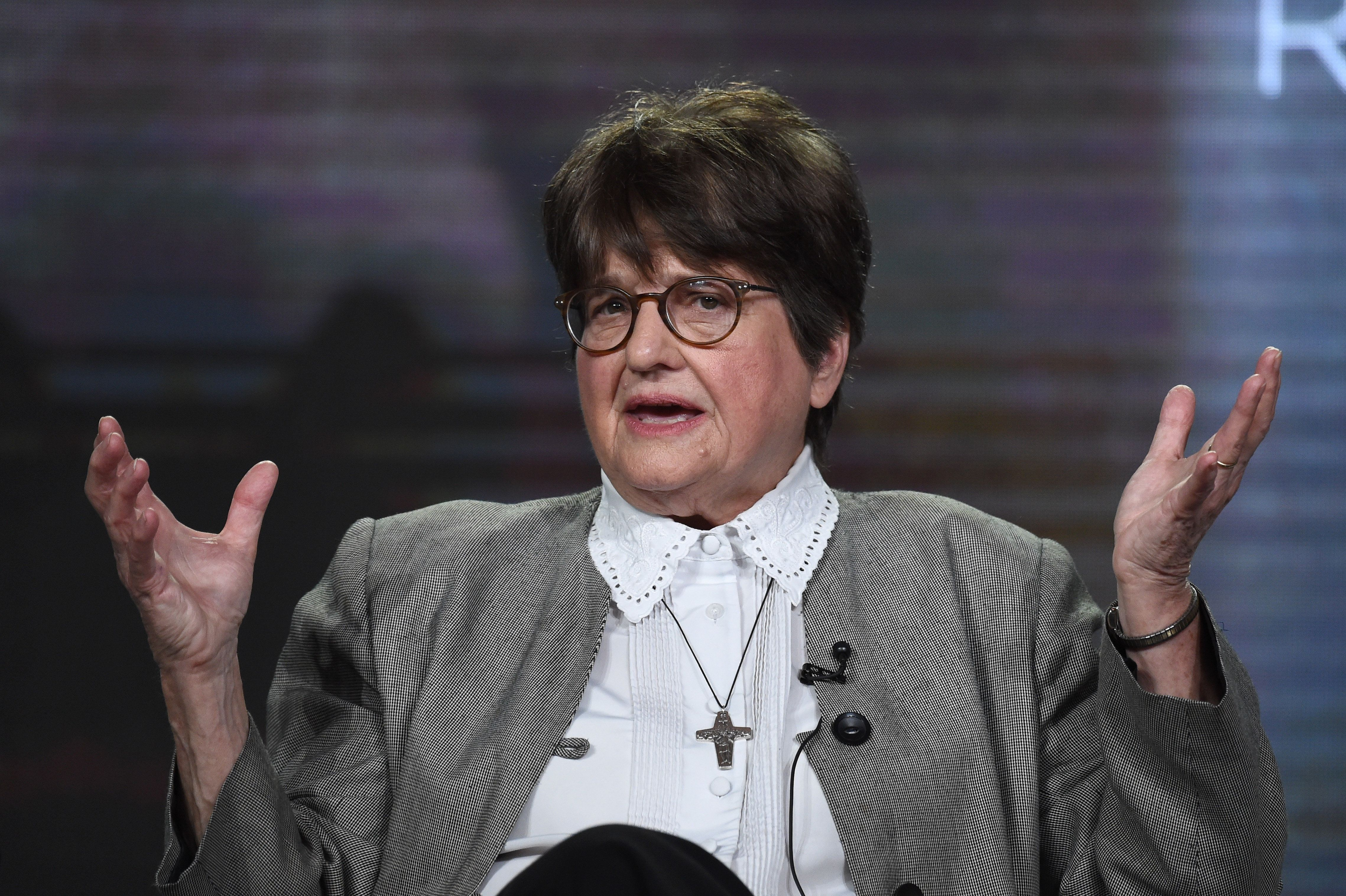 """PASADENA, CA - JANUARY 14:  Sister Helen Prejean, activist and author of """"Dead Man Walking"""" speaks onstage during the 'Killing Richard Glossip' panel at during Discovery Communications Winter TCA Event on January 14, 2017 in Pasadena, California.  (Photo by Amanda Edwards/Getty Images for Discovery Communications )"""