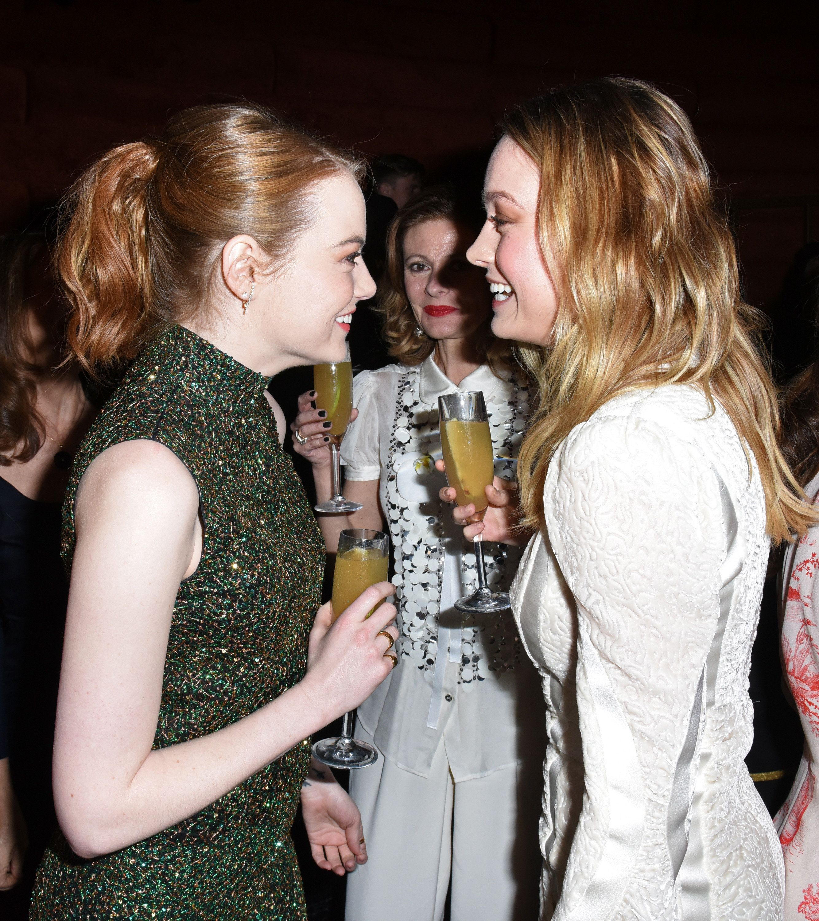 LOS ANGELES, CA - FEBRUARY 24:  Actors Emma Stone and Brie Larson attend the tenth annual Women in Film Pre-Oscar Cocktail Party presented by Max Mara and BMW at Nightingale Plaza on February 24, 2017 in Los Angeles, California.  (Photo by Vivien Killilea/Getty Images for Women In Film)