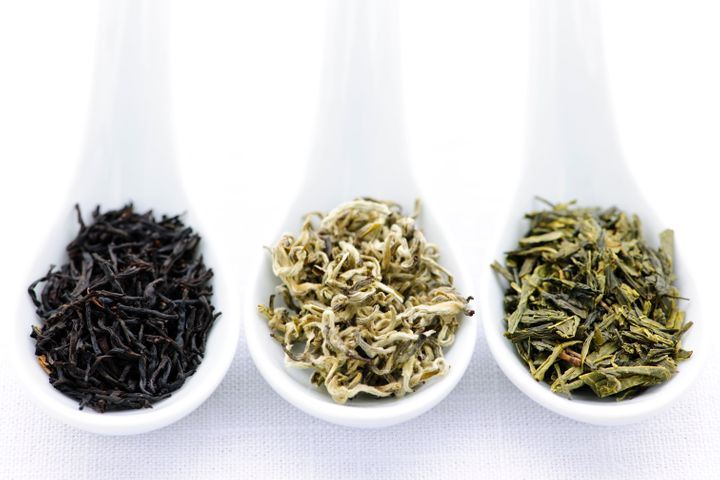 In order from left to right, black, white and green tea.