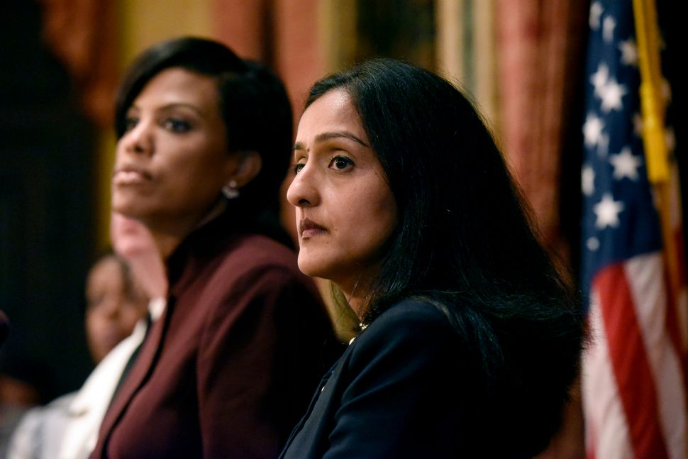 Vanita Gupta (right) and former Baltimore Mayor Stephanie Rawlings-Blake at a press conference announcing the Justice Departm