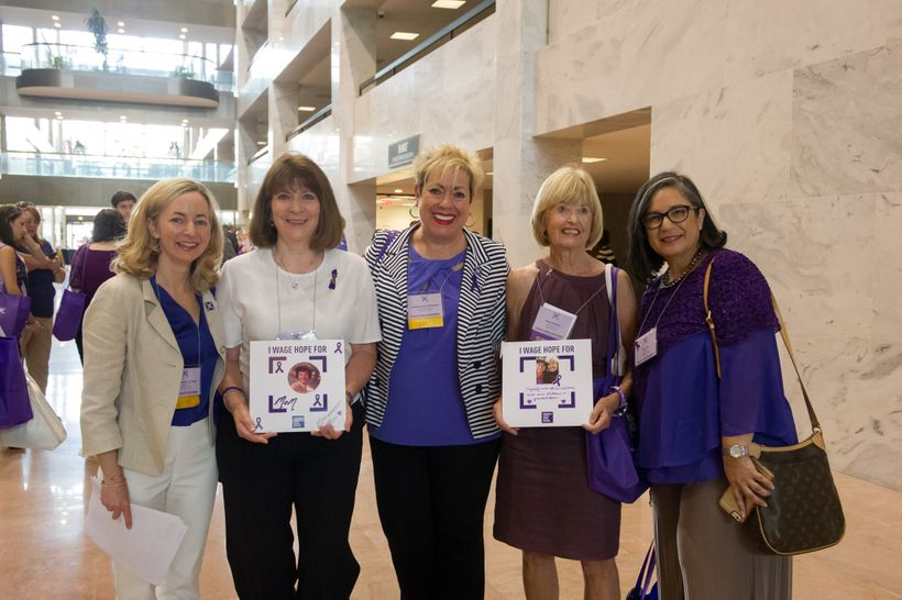 PanCAN president and CEO Julie Fleshman  (left) with Kathy Garcia, PanCAN founder Pam Acosta Marquardt, pancreatic cancer sur