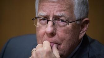 UNITED STATES - JANUARY 19: Sen. Mike Enzi, R-Wyo., attends the Senate Finance Committee confirmation hearing for Steven Mnuchin, President-elect Trump's nominee for Treasury secretary, in Dirksen Building, January 19, 2017. (Photo By Tom Williams/CQ Roll Call)