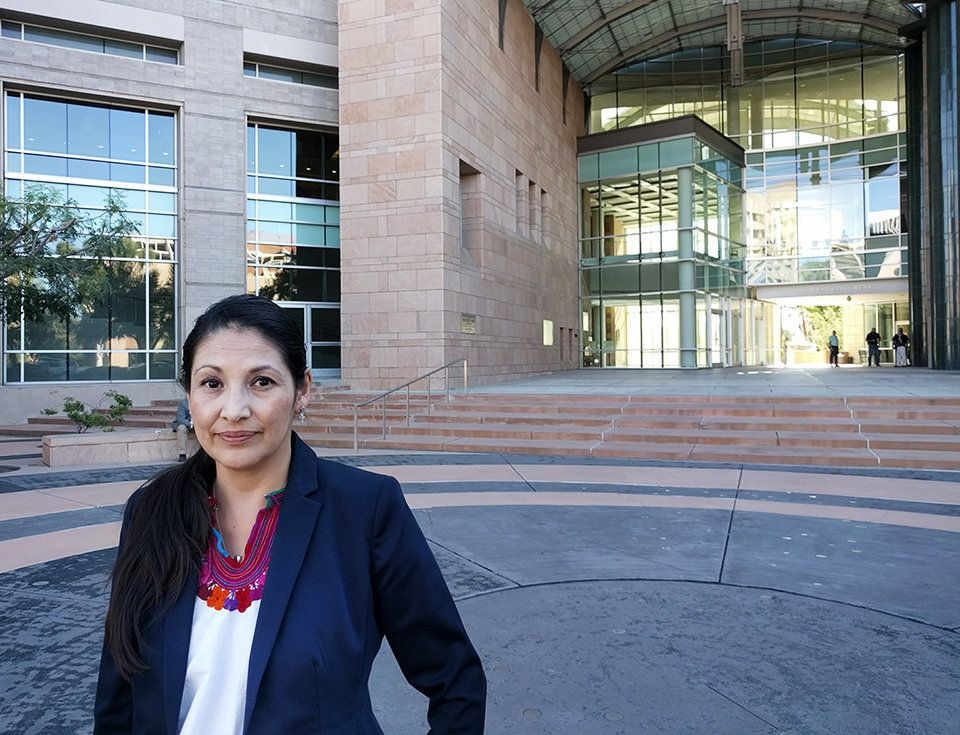 <i>Eréndira Castillo, who has defended immigrants facing criminal deportation charges for the last two decades, stands