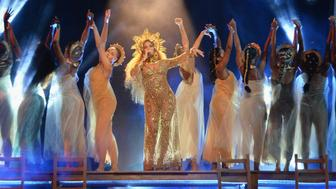 LOS ANGELES, CA - FEBRUARY 12:  Beyonce performs onstage during The 59th GRAMMY Awards at STAPLES Center on February 12, 2017 in Los Angeles, California.  (Photo by Kevin Mazur/Getty Images for NARAS)