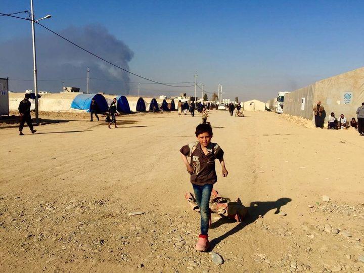 Children in Qayyarah displacement camp in March 2017.
